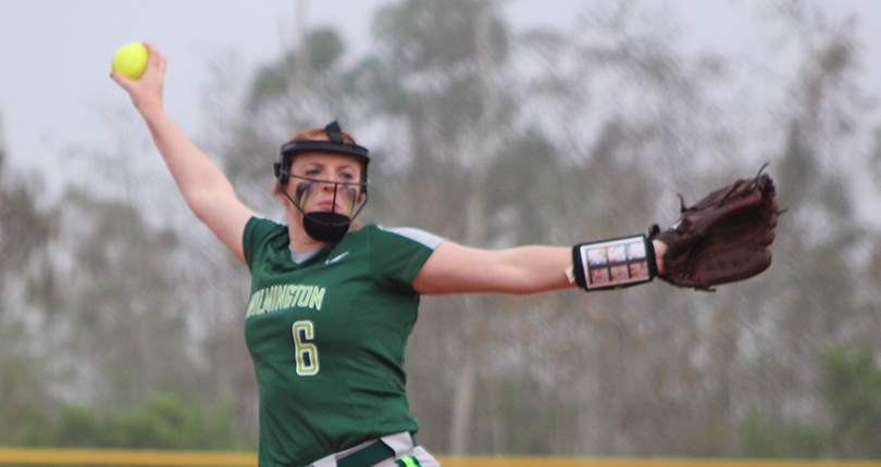 Senior Becca Carpenter allowed one run over seven innings to record the victory in the circle. (Wilmington Athletic Communications file photo)