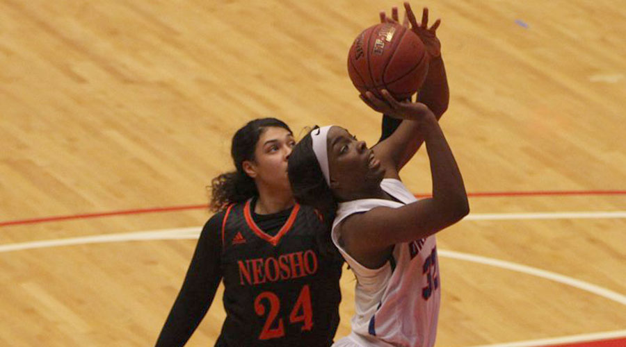 Jada Mickens had her 11th double-double in No. 15 Hutchinson's 93-39 win over Colby on Sunday in Colby. (Joel Powers/Blue Dragon Sports Information)