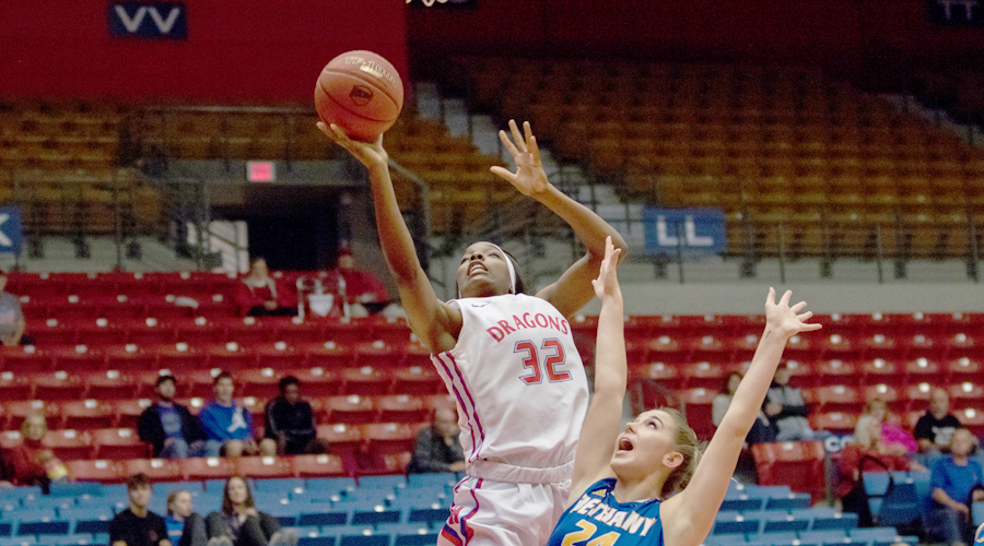 Jada Mickens had 34 points and 10 rebounds in No. 12 Hutchinson's 81--35 victory over the Bethany College JV on Wednesday at the Sports Arena. (Allie Schweizer/Blue Dragon Sports Information)