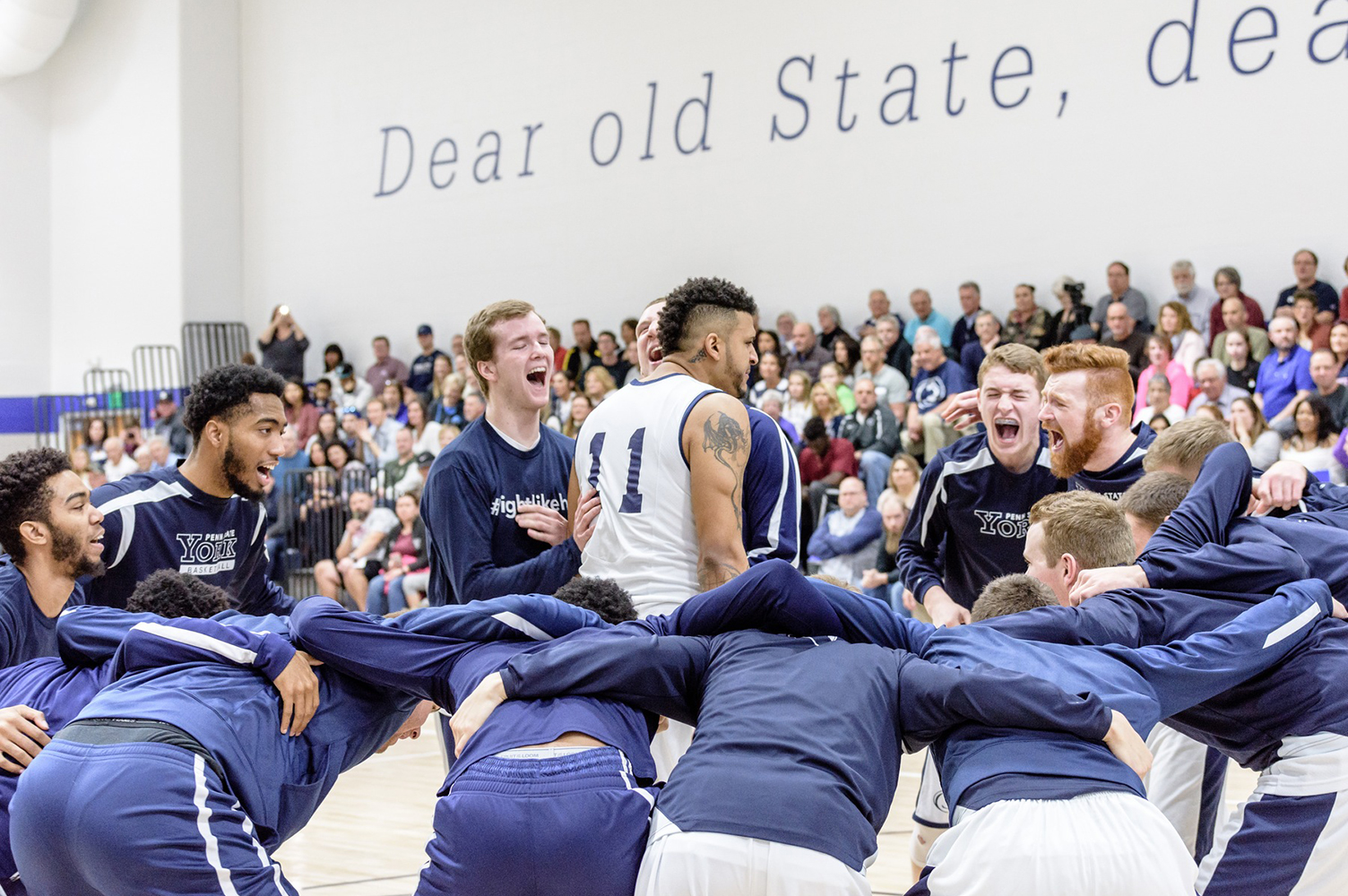 Richard Grant and the Penn State York Men's Basketball team get pumped up before tip-off.
