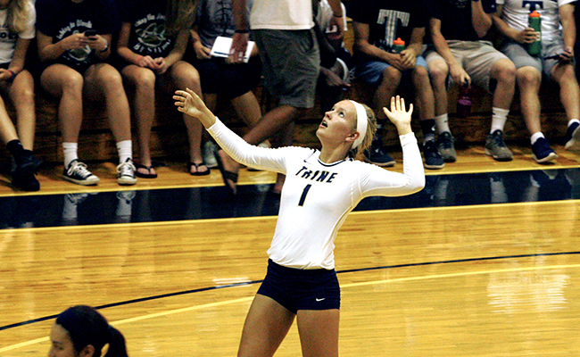 Trine Volleyball Rolls Passed MacMurray, Drops Close Sets to Anderson
