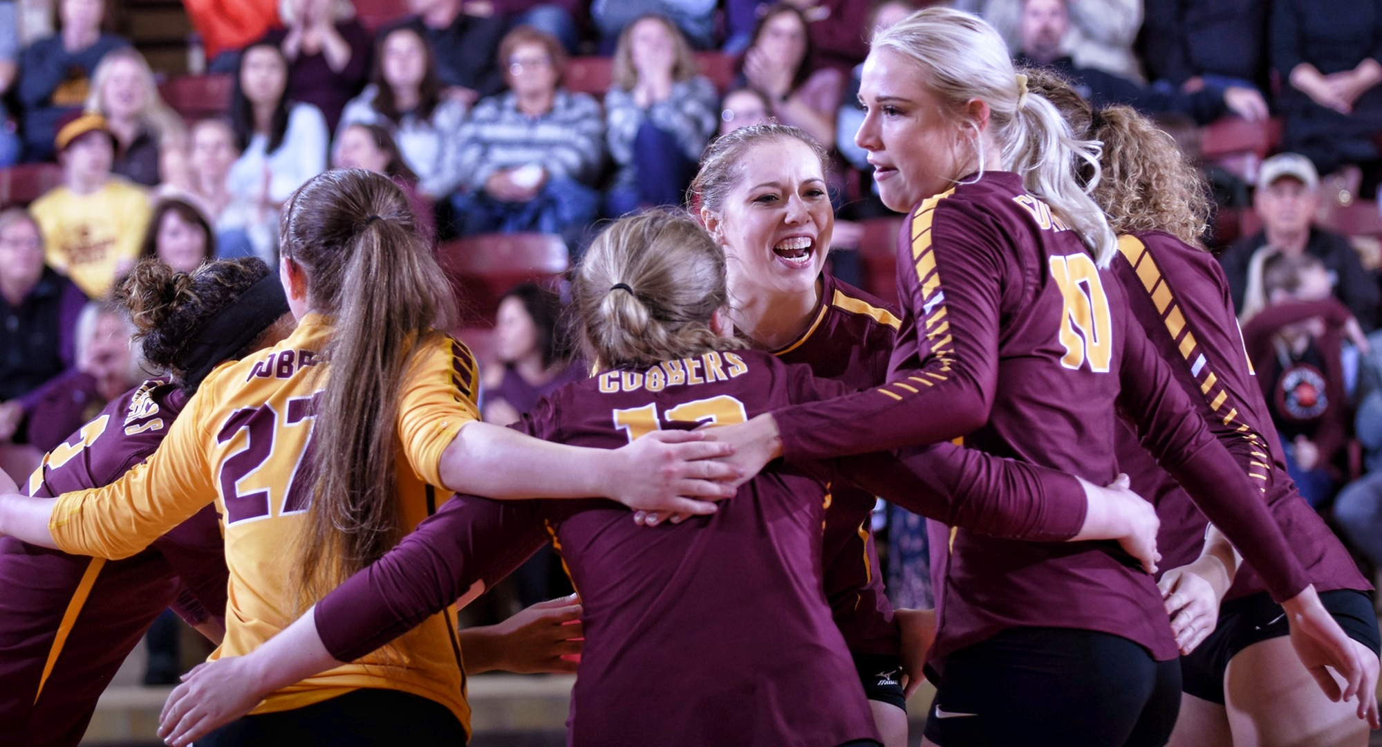 Concordia celebrates a point in one of their two conference sweeps over the weekend.