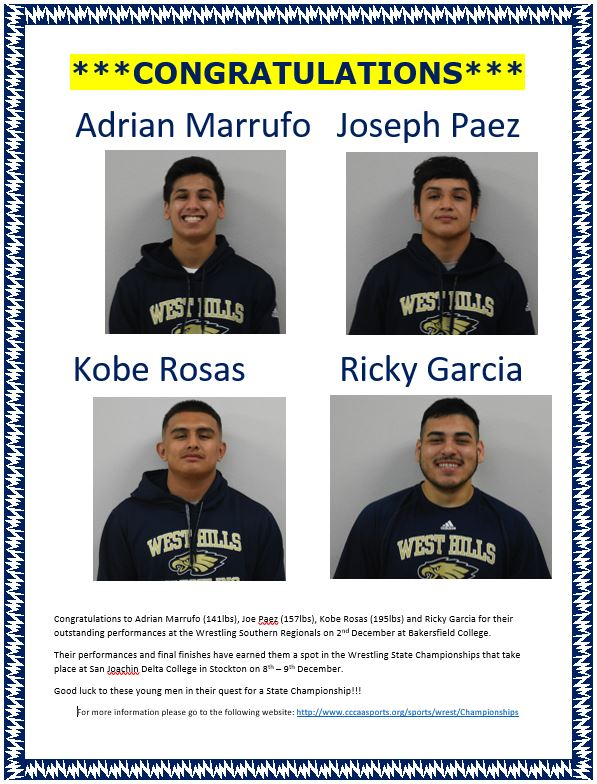 Congratulations to Wrestlers Qualifying for the State Championships