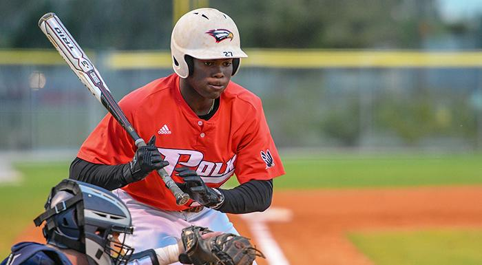 Jaisen Randolph had a double, two singles, two walks, two stolen bases, and four RBI in a 10-1 win over Rollins College. (Photo by Tom Hagerty, Polk State.)