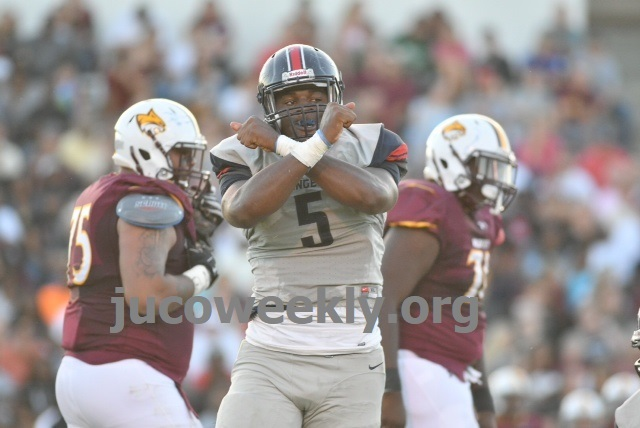 Freshman Tariqious Tisdale recorded two of the Rangers' three sacks in a 34-21 road win at Pearl River. Photo courtesy of JUCO Weekly.