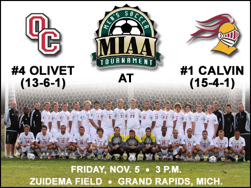 Men's soccer team travels to play Calvin in semifinals of MIAA Tournament