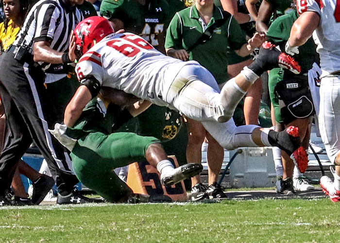 Trevor Henson had six tackles in Saturday's loss at Methodist. (Photo by Carrie Bump)