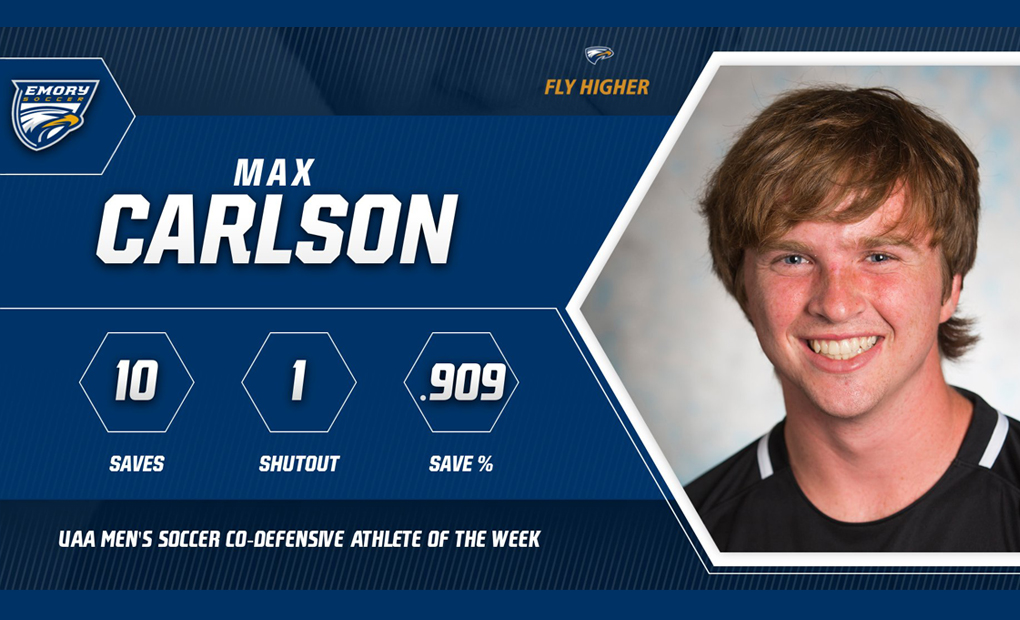 Max Carlson Named UAA Men's Soccer Co-Defensive Athlete of the Week