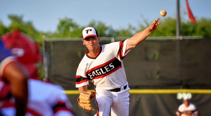 Luis Ferrer (1-0) struck out six in four innings as the Eagles defeated Webber International JV. (Photo by Tom Hagerty, Polk State.)