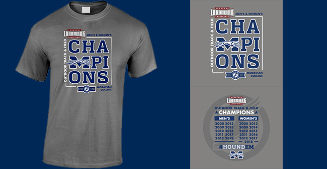 Landmark Conference Championship t-shirt design for men's and women's outdoor track & field.