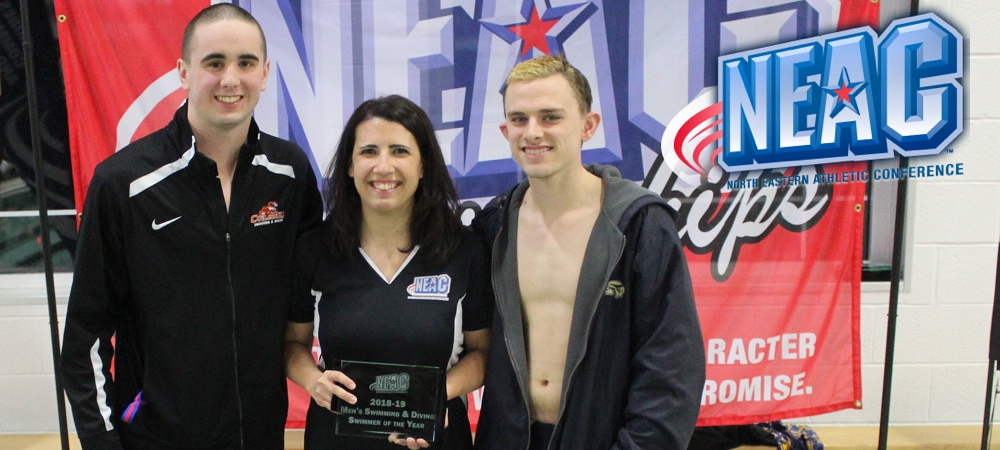 2019 NEAC Men's Swimmers of the Year. Dan Mullen (left) from SUNY Cobleskill along with Gallaudet's Ben Sealts (right). NEAC Asst. Commissioner Stephanie Dutton stands between them with the award.