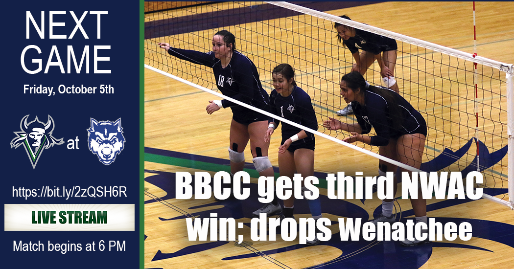 The Lady Vikings volleyball team picked up their third Northwest Athletic Conference East Region win of the year on Wednesday night defeating Wenatchee Valley, 3-1.