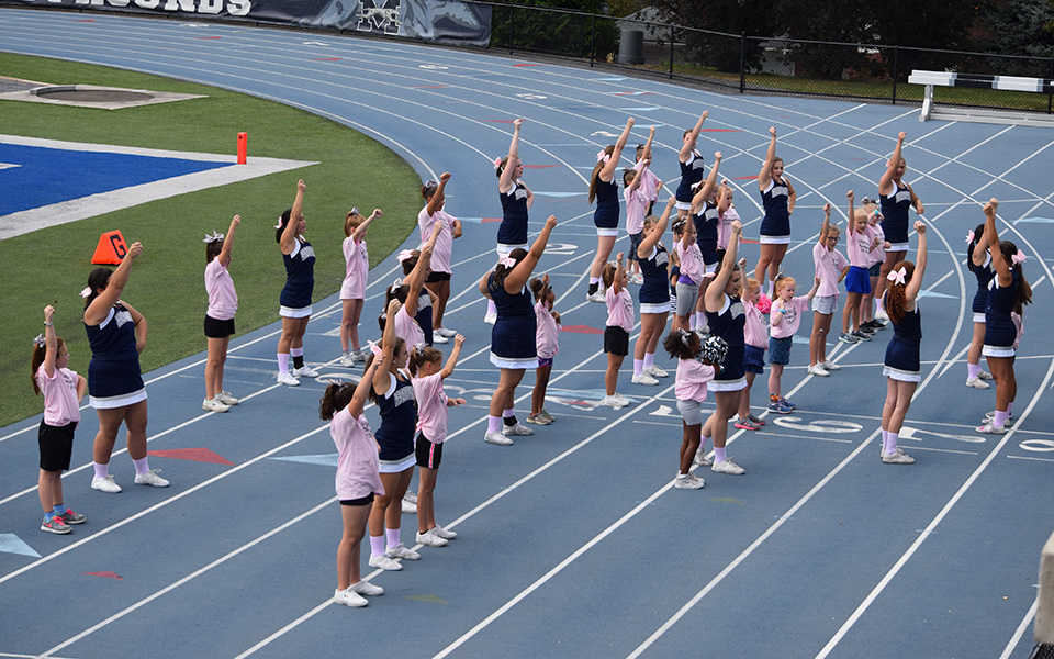 Participants in Moravian's 2017 Greyhound Cheerleader for a Day