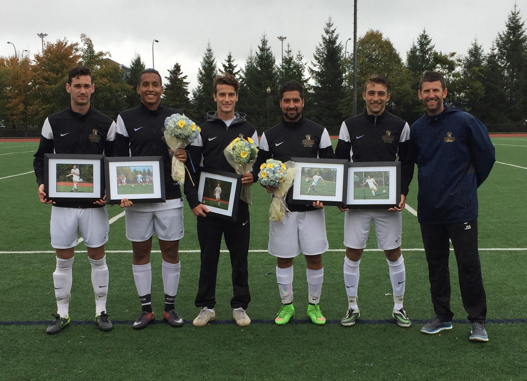 Men's Soccer Clinches Home Field, Defeats Rivier, 2-1, on Senior Day