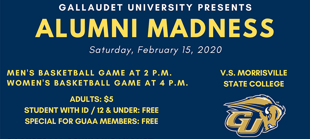 GUAA Alumni Madness Graphic for event on Feb. 15, 2020. A GU Bison logo is in the lower right corner.