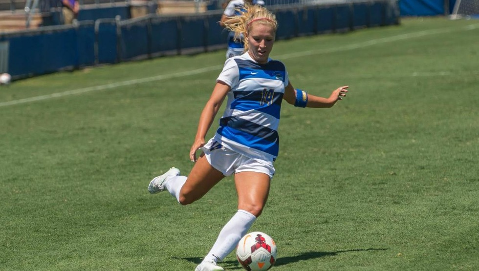 Amanda Ball scored two goals in the season opener to lead UCSB past Idaho 3-0 (Photo by Tony Mastres)