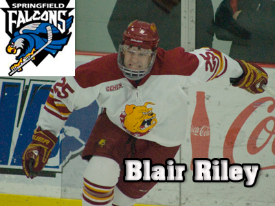 Blair Riley Begins Professional Career With Springfield Falcons
