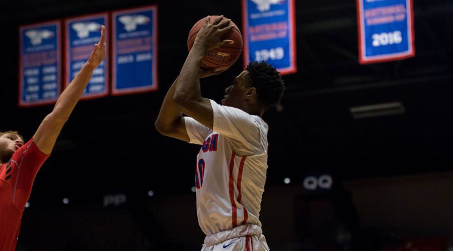 Devonte Bandoo was 5 of 5 from 3-point range for a career-high 25 points to lead the No. 8 Blue Dragons to a 76-74 come-from-behind victory at Independence. (Allie Schweizer/Blue Dragon Sports Information)