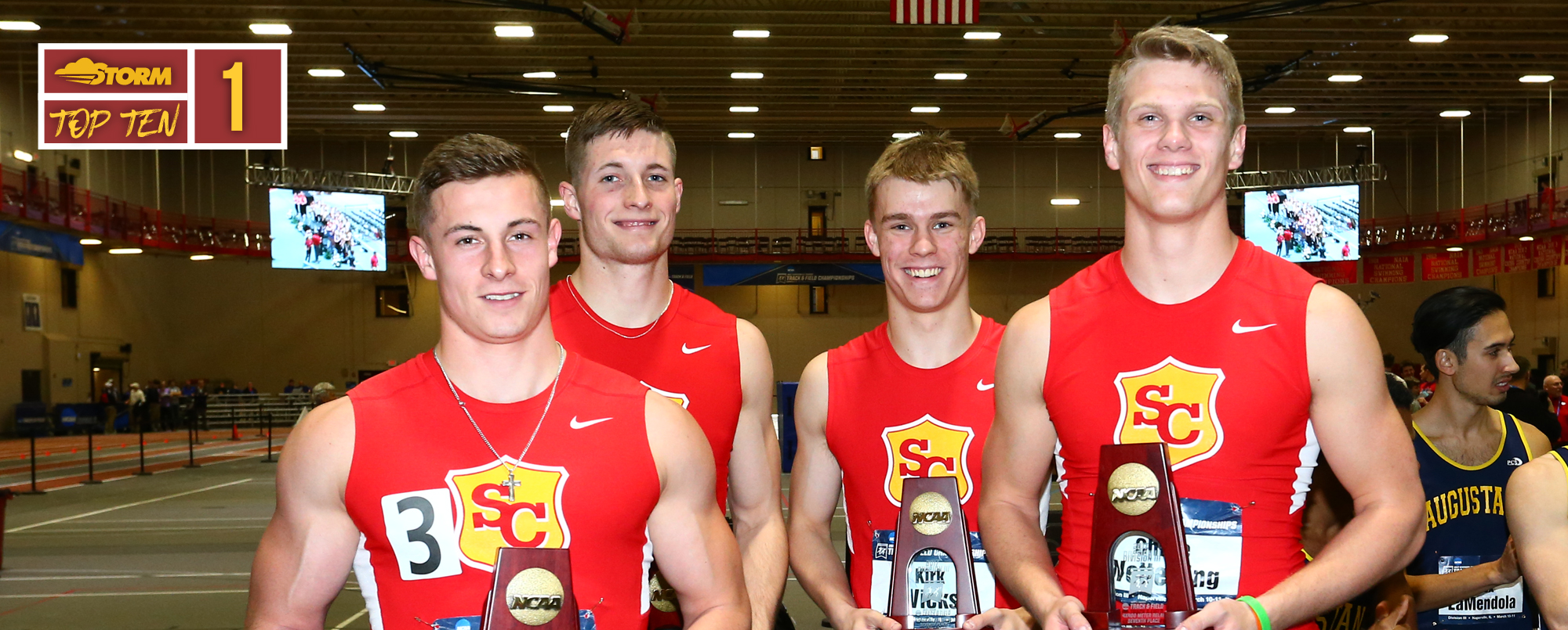 The All-American 4x400 relay team of Travis Tupper, Jordan Coughenour, Kirk Wicks and Chase Wetterling