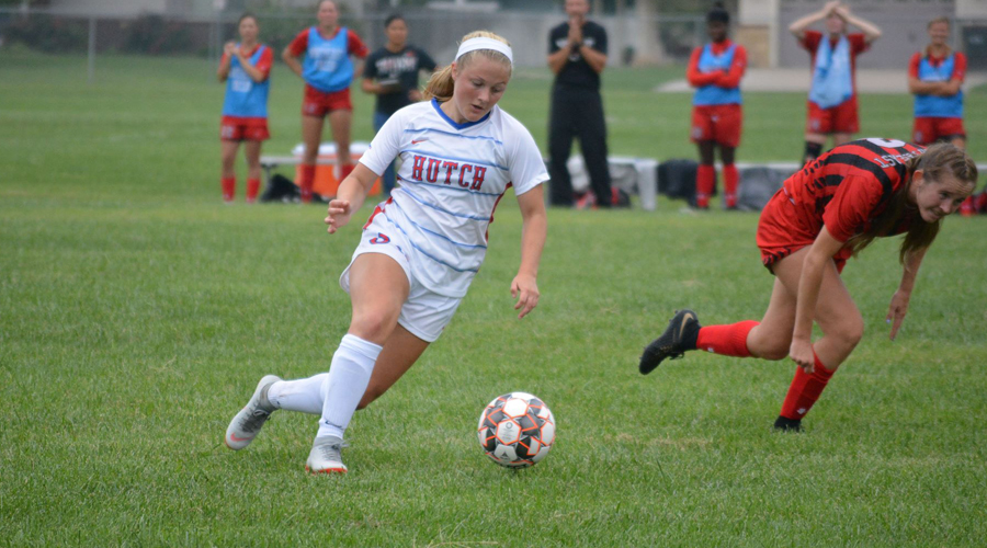 Sydney Blackwell was one of six Blue Dragon goal scorers in Hutch's 7-0 victory over Northwest Tech on Wednesday in Goodland. (Bre Rogers/Blue Dragon Sports Information)