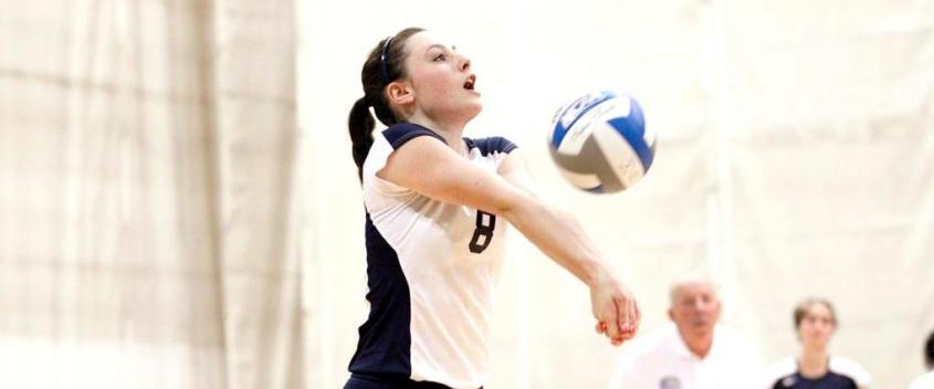 Volleyball falls to hosts in three sets to open Amherst Invitational