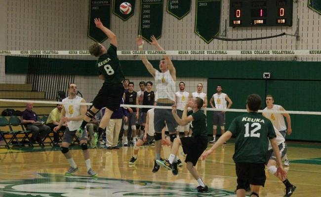 Junior Josh Makin and the Keuka College men's volleyball team earned a pair of wins during Saturday's final NEAC crossover to remain in contention for a berth in the NEAC postseason tournament (photo courtesy of Megan Chase, Keuka College Sports Information department).
