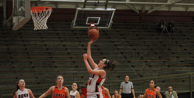 Carly Ducat floats in a shot against Orange Coast for two of her 21 points. Photo by Tony McAndrew.