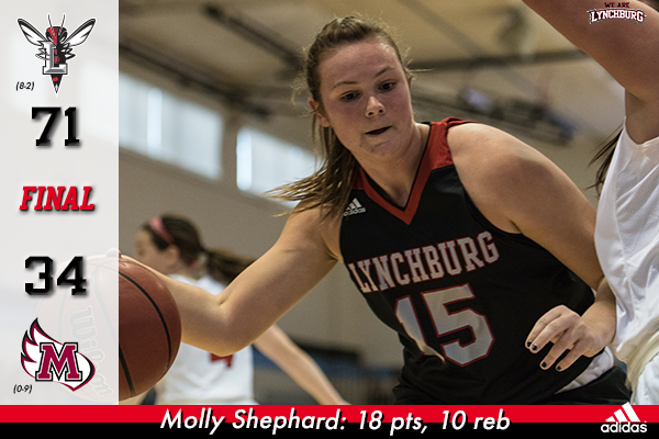Molly Shephard dribbles the basketball around a defender.