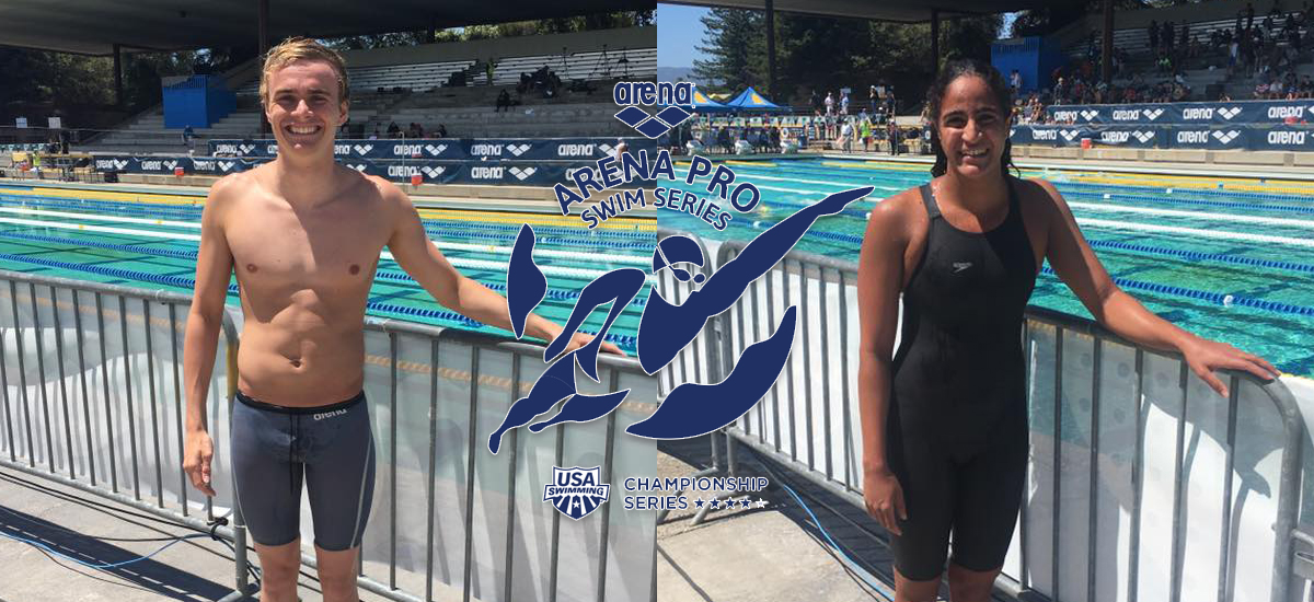 Alexander Gliese (left) broke the Danish National Record in the 200 back and Hania Moro now holds the Egyptian National Record in the 800 free (Photos provided by Chad Cradock).
