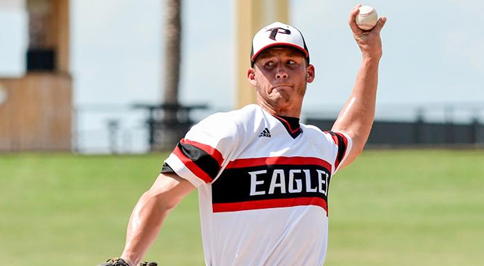 Hunter Kyzar pitches in the first inning today. For the fourth game in a row the Eagles got a strong outing from their starting pitcher.