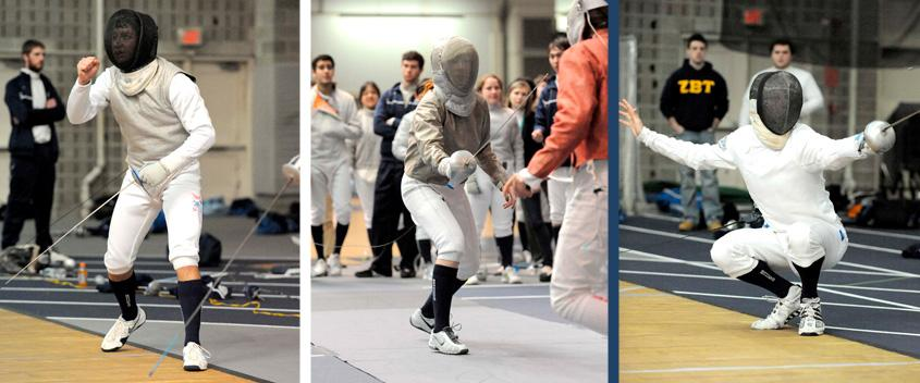 Julian Cardillo '14, Zoe Messinger '13, and Mike Zook '13 (Photos by Sportspix)