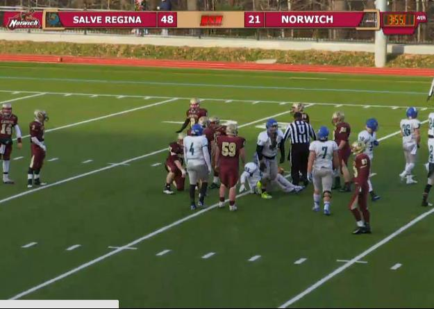 Salve Regina score 34 unanswered points after trailing by seven in the second quarter, winning 48-21 at Norwich in the 2014 ECAC NorthEast Bowl.