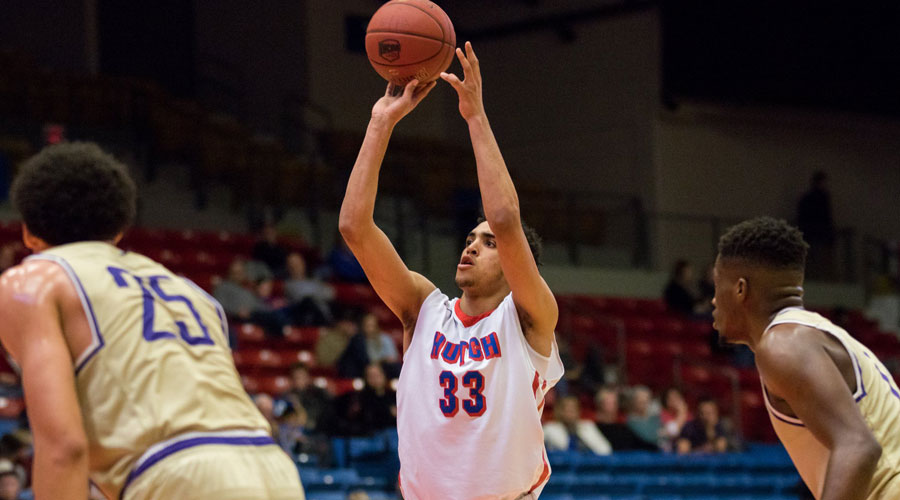 James Rojas has a career-high 22 points to lead the Blue Dragons to a key Jayhawk Conference 85-72 victory over Barton on Wednesday in Great Bend. (Allie Schweizer/Blue Dragon Sports Information)