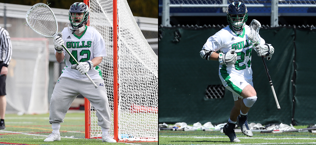 Split photo of two Endicott men's lacrosse student-athletes in game action.