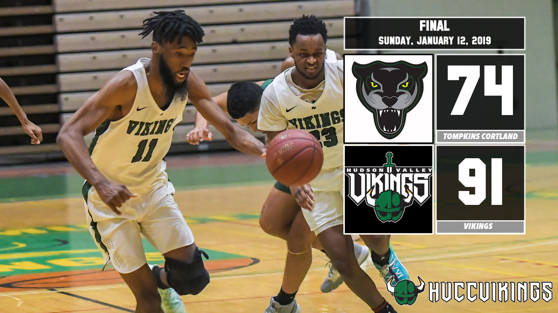 Men's basketball defeats Tompkins Cortland 91-74 on Jan. 12, 2019.
