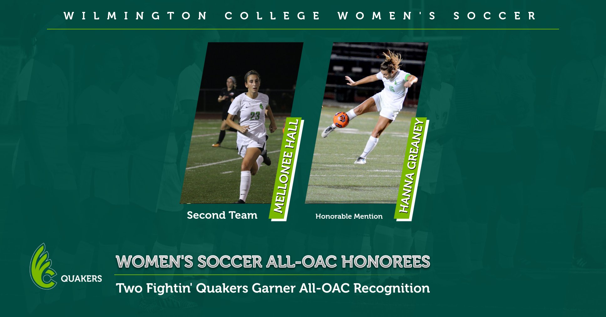 Hall and Greaney Earn All-OAC Honors for Women's Soccer
