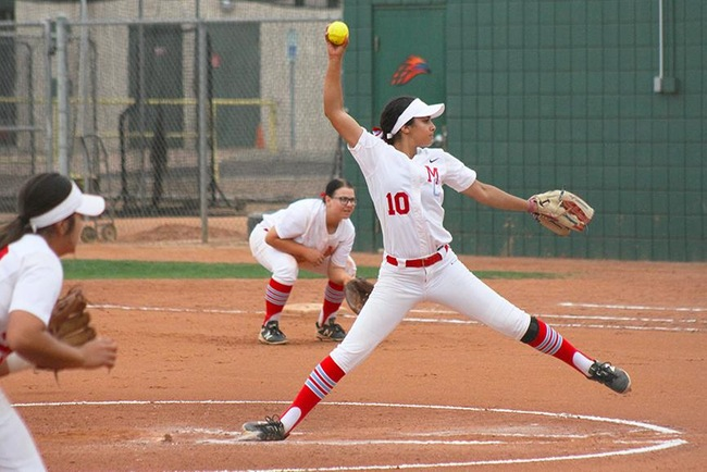 Gaby Lopez pitches to the Glendale Gauchos in game two of Saturdays double-header. (Photo by Aaron Webster)