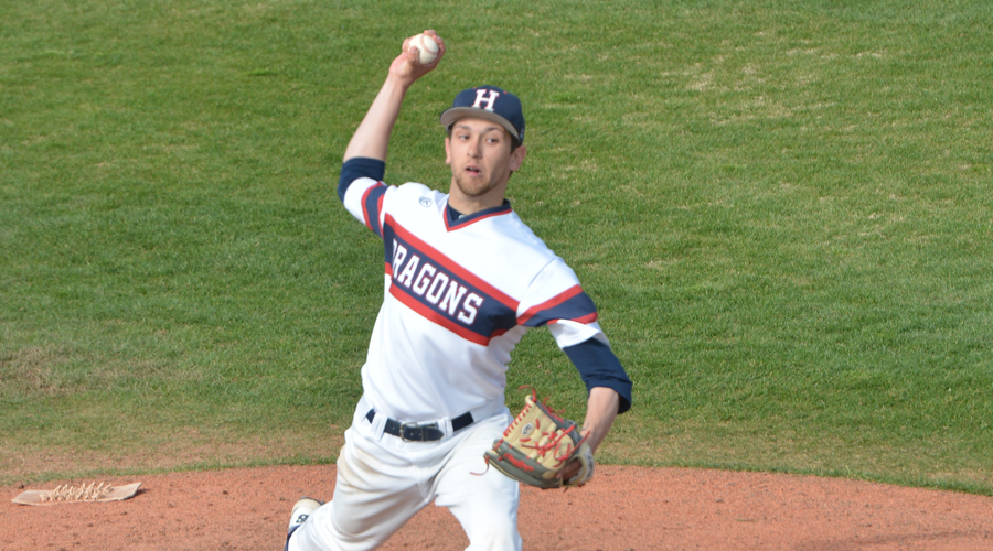 Mike Brown struck out a season-high eight in a season-high eight innings in Hutch's 11-2 win over Dodge City on Friday at Hobart-Detter Field. (Scott Brooks/Blue Dragon Athletics)