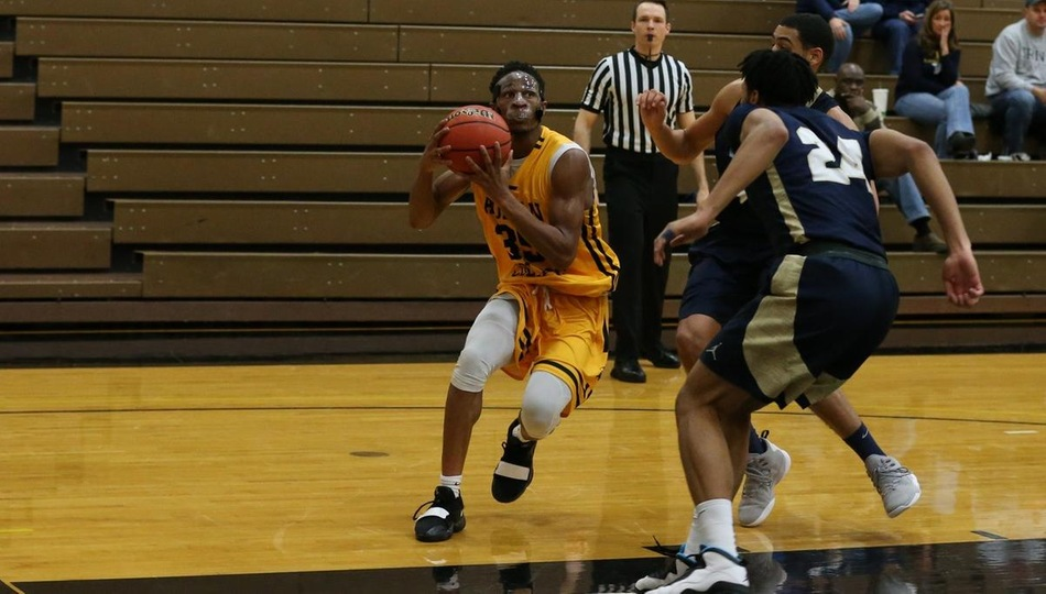 Junior forward Jeremy Kalonji matched his career-high with 28 points in Adrian's 67-62 loss at Kalamazoo on Wednesday (Photo by Mike Dickie).