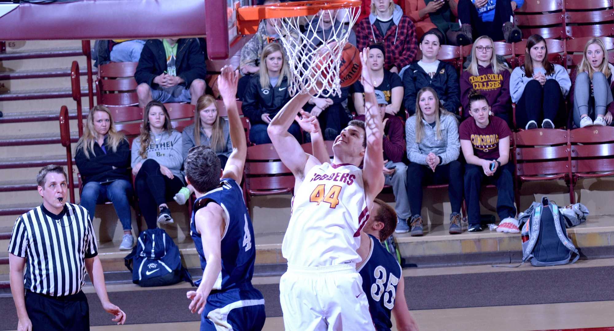 Kevin Wolfe goes up strong for two of his team-high 14 points in the Cobbers' dramatic 72-70 win over Bethel.
