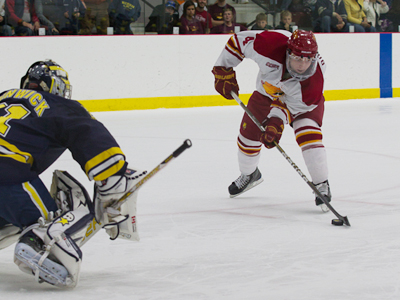 Chad Billins scored one of Ferris State's two shootout goals in the 2-2 overtime tie versus Michigan this Friday evening.  (Photo by Scott Whitney)