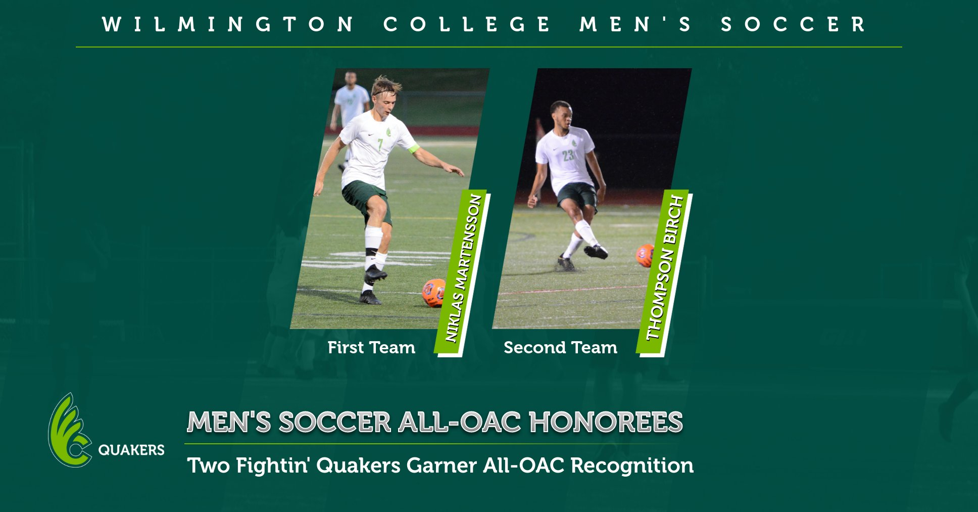 Martensson and Birch Earn All-OAC Honors for Men's Soccer