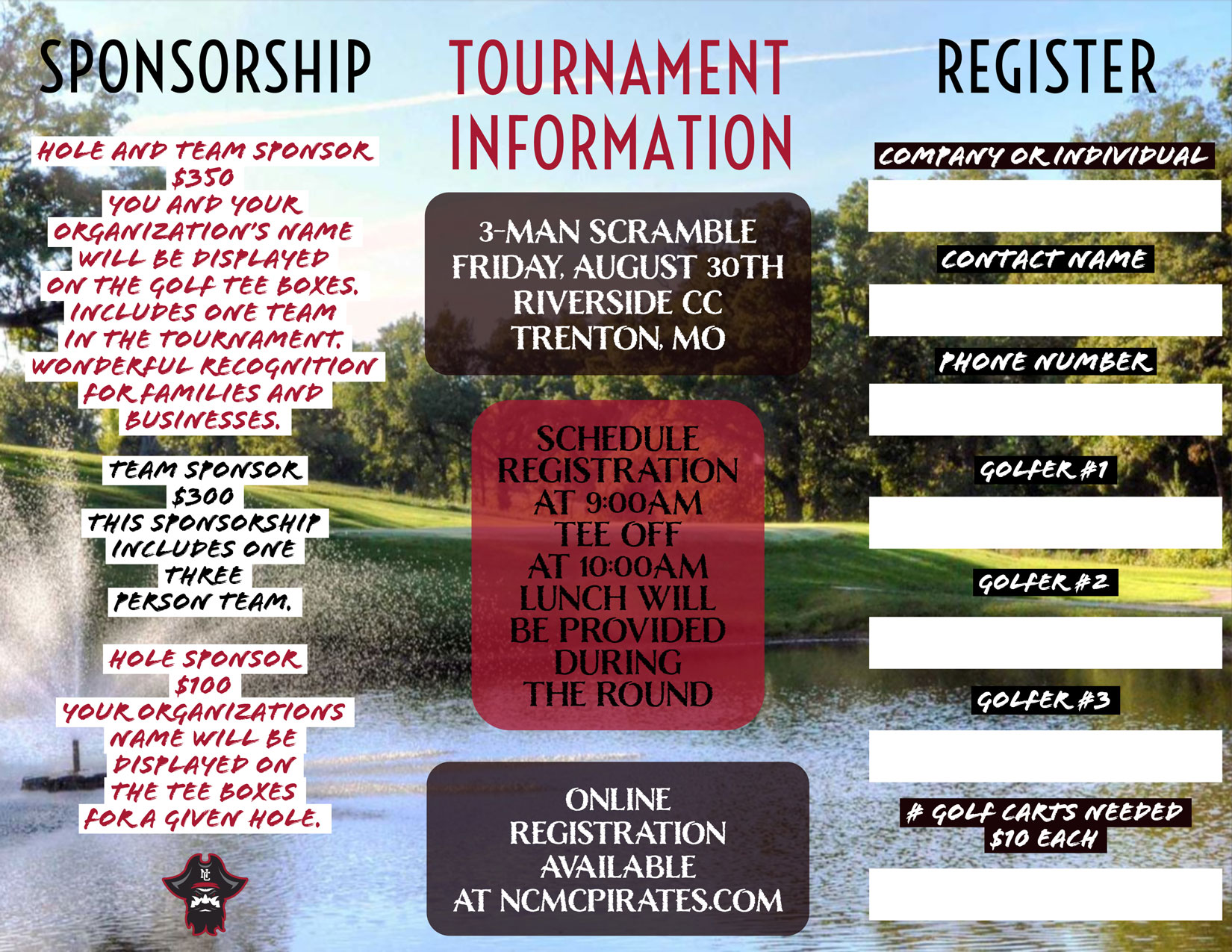 Information about the Pirates Fundraiser Golf Tournament.