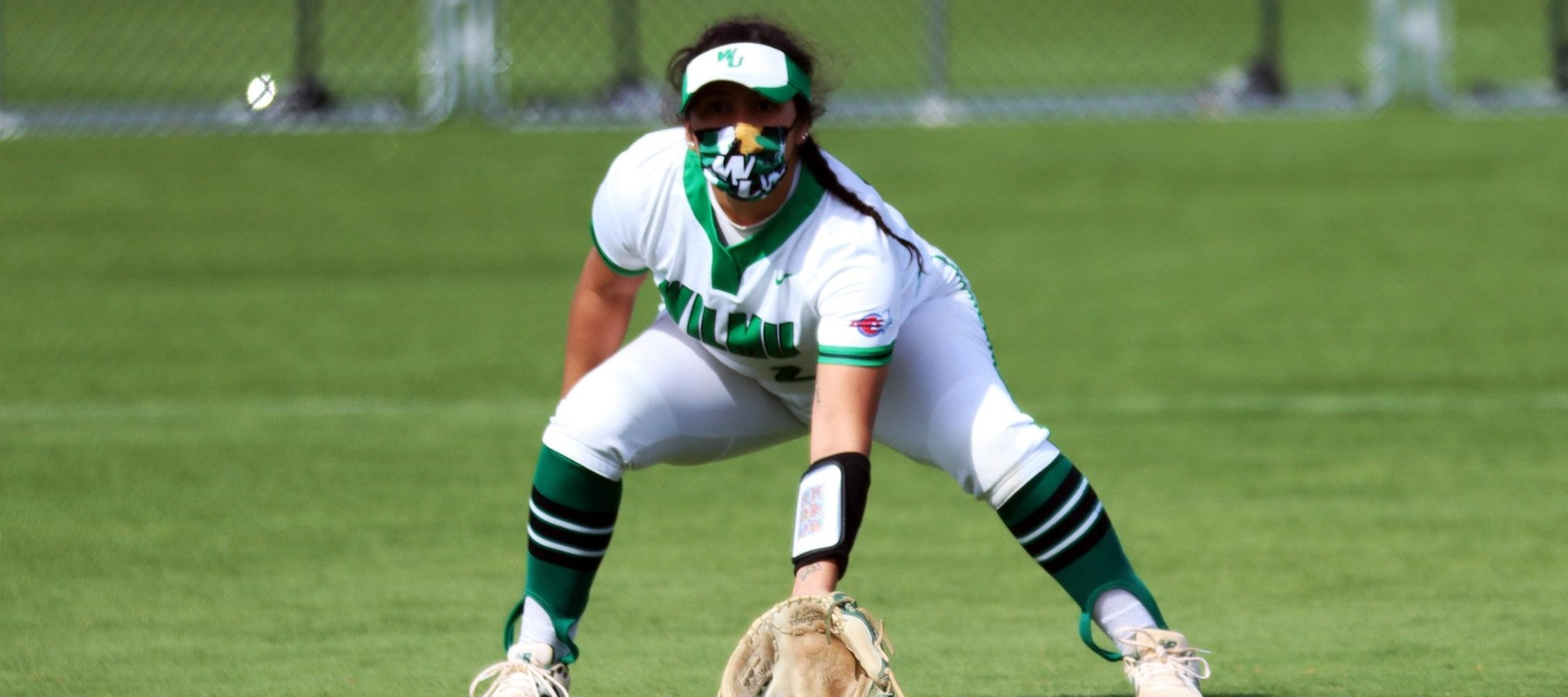 File photo of Alyssa Velasquez who had two hits in each game against Caldwell. Copyright 2021; Wilmington University. All rights reserved. Photo by Dan Lauletta. March 27, 2021 at Felician.