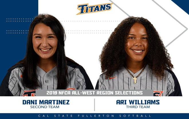 Martinez and Williams Earn NFCA All-West Region Honors
