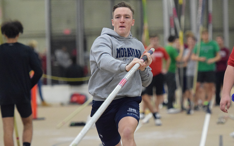 Sophomore Max Schuman gets ready for the pole vault competition during the Moravian Indoor Meet at Lehigh University's Rauch Fieldhouse.