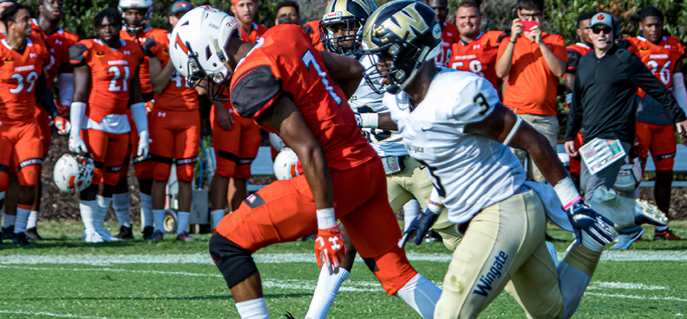 Tory Ponder scored two touchdowns against No. 16 Wingate in a 28-21 loss during homecoming (photo by Chuck Williams)