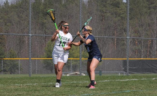 Sophomore Sydney Forshay scored four goals and added six groundballs as women's lacrosse advanced into the NEAC title game with Saturday's 14-11 win over SUNY Poly (photo courtesy of Ed Webber).