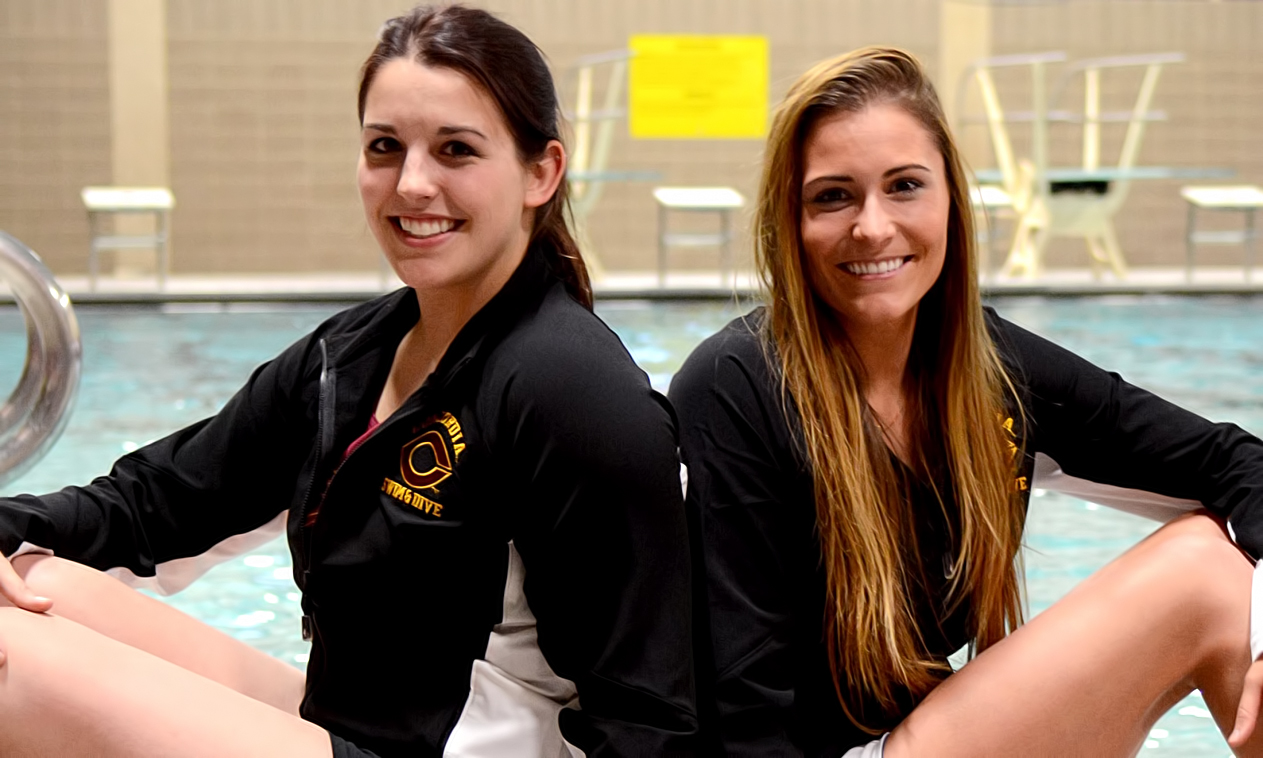 Jordyn Olson and Annie Herkenhoff were honored during the annual Senior Day celebration at the Cobbers' dual meet with Minn.-Morris.