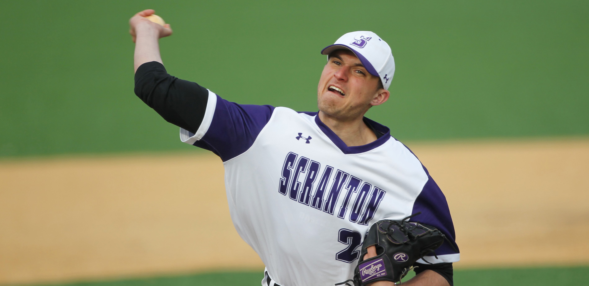 Junior Bobby Hegarty tossed a complete game in Scranton's game one win over Elizabethtown on Saturday. © Photo by Timothy R. Dougherty / doubleeaglephotography.com